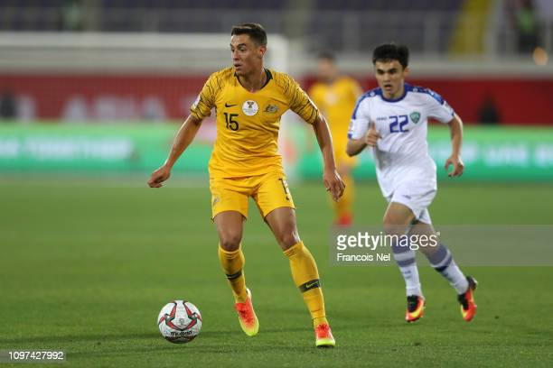Chris Ikonomidis of Australia in action during the AFC Asian Cup round of 16 match between Australia and Uzbekistan at Khalifa Bin Zayed Stadium on...