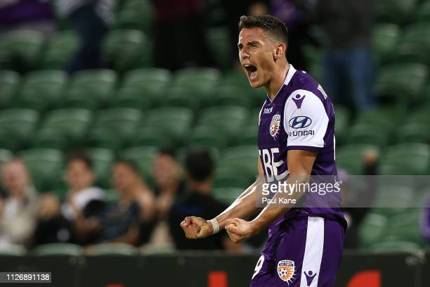 Chris Ikonomidis of the Glory celebrates a goal during the round 17 ALeague match between the Perth Glory and the Wellington Phoenix at HBF Park on...
