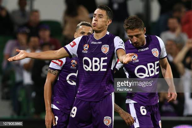 Chris Ikonomidis of the Glory celebrates a goal during the round seven ALeague match between the Perth Glory and Melbourne City at nib Stadium on...