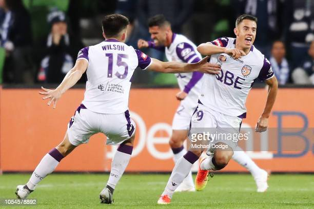 Chris Ikonomidis of the Glory celebrates a goal during the round two ALeague match between the Melbourne Victory and the Perth Glory at AAMI Park on...