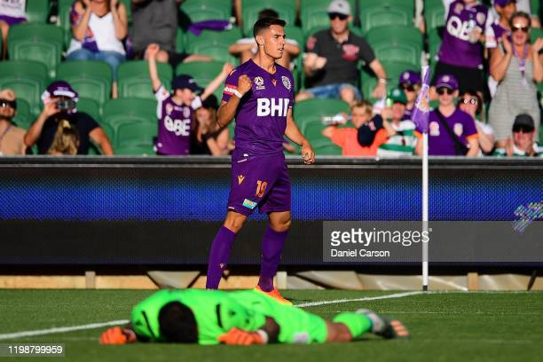 Chris Ikonomidis of the Perth Glory celebrates after scoring a goal during the round 14 A-League match between the Perth Glory and Adelaide United at...