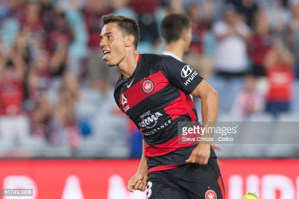 Chris Ikonomidis of the Wanderers celebrates kicking a goal during the round seven A-League match between the Western Sydney Wanderers and the...
