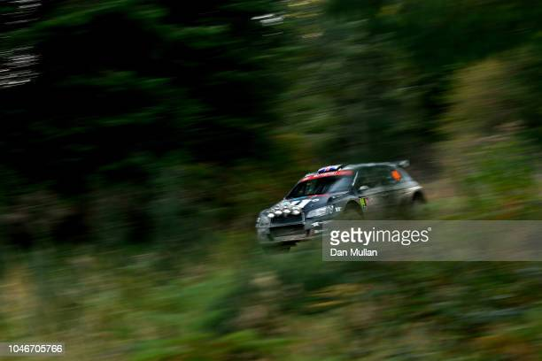 Chris Ingram of Great Britain and Toksport WRT drives with codriver Ross Whittock of Great Britain during the Dyfi stage on day three of the FIA...