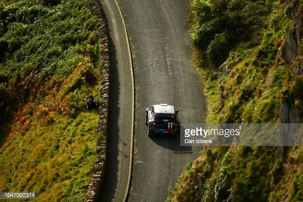 Chris Ingram of Great Britain and Toksport WRT drives with codriver Ross Whittock of Great Britain during the Great Orme stage on day four of the FIA...