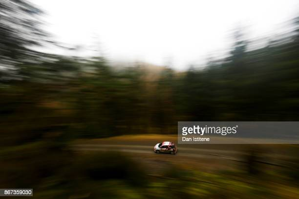 Chris Ingram of Great Britain drives during day two of the FIA World Rally Championship Great Britain at Aberhirnant on October 28 2017 in Bala Wales