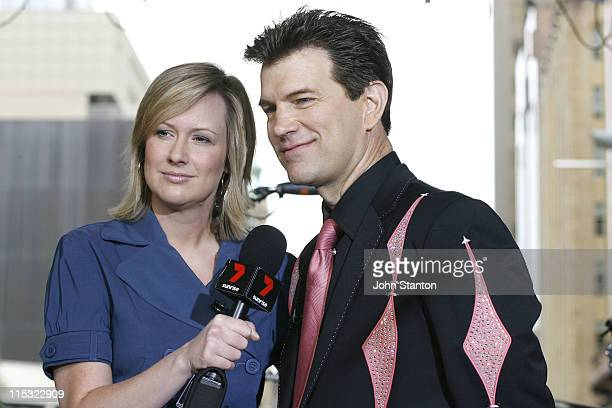 Chris Isaak with host Melissa Doyle during Chris Isaak Performs on Sunrise October 27 2006 at Doltone House Jones Bay Wharf in Sydney NSW Australia