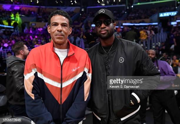 Chris Ivery and Dwyane Wade attend Los Angeles Lakers and Milwaukee Bucks at Staples Center on March 6 2020 in Los Angeles California