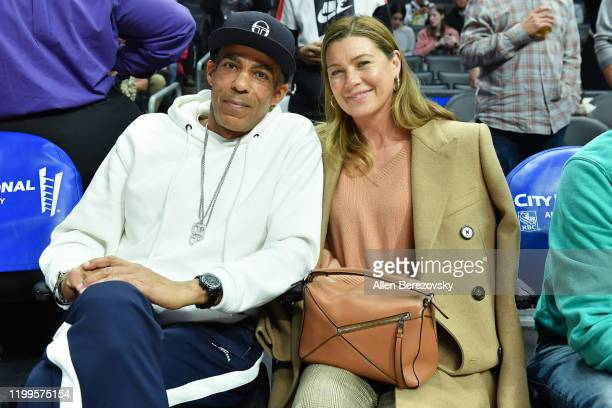 Chris Ivery and Ellen Pompeo attend a basketball game between the Los Angeles Clippers and Cleveland Cavaliers at Staples Center on January 14 2020...