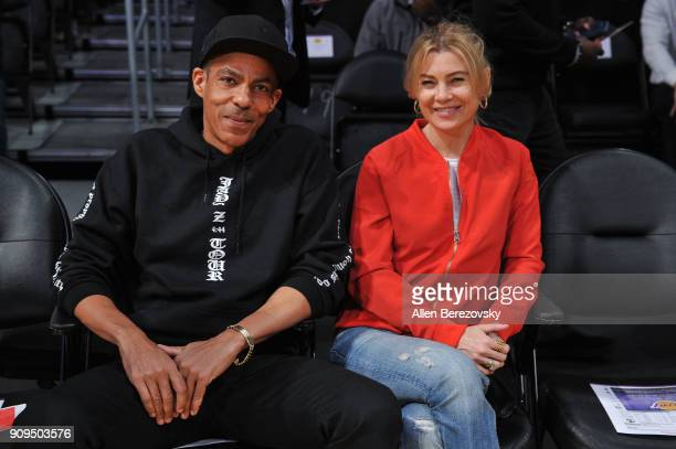 Chris Ivery and Ellen Pompeo attend a basketball game between the Los Angeles Lakers and the Boston Celtics at Staples Center on January 23 2018 in...