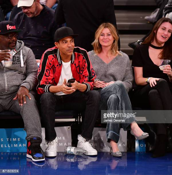 Chris Ivery and Ellen Pompeo attend the Charlotte Hornets Vs New York Knicks game at Madison Square Garden on November 7 2017 in New York City