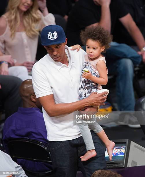 Chris Ivery and his daughter Stella Luna Ivery attend a basketball game between the Chicago Bulls and Los Angeles Lakers at Staples Center on March...