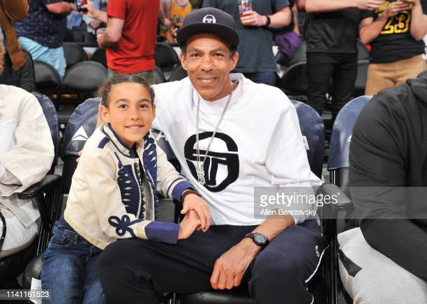 Chris Ivery and Stella Ivery attend a basketball game between the Los Angeles Lakers and the Utah Jazz at Staples Center on April 07 2019 in Los...