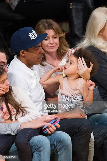 Chris Ivery Ellen Pompeo and their daughter Stella Luna Ivery attend a basketball game between the Chicago Bulls and Los Angeles Lakers at Staples...