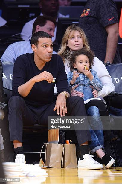 Chris Ivery Ellen Pompeo and their daughter Stella Luna Ivery attend a basketball game between the Brooklyn Nets and the Los Angeles Lakers at...