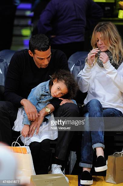Chris Ivery Stella Luna Ivery and Ellen Pompeo attend a basketball game between the Brooklyn Nets and the Los Angeles Lakers at Staples Center on...