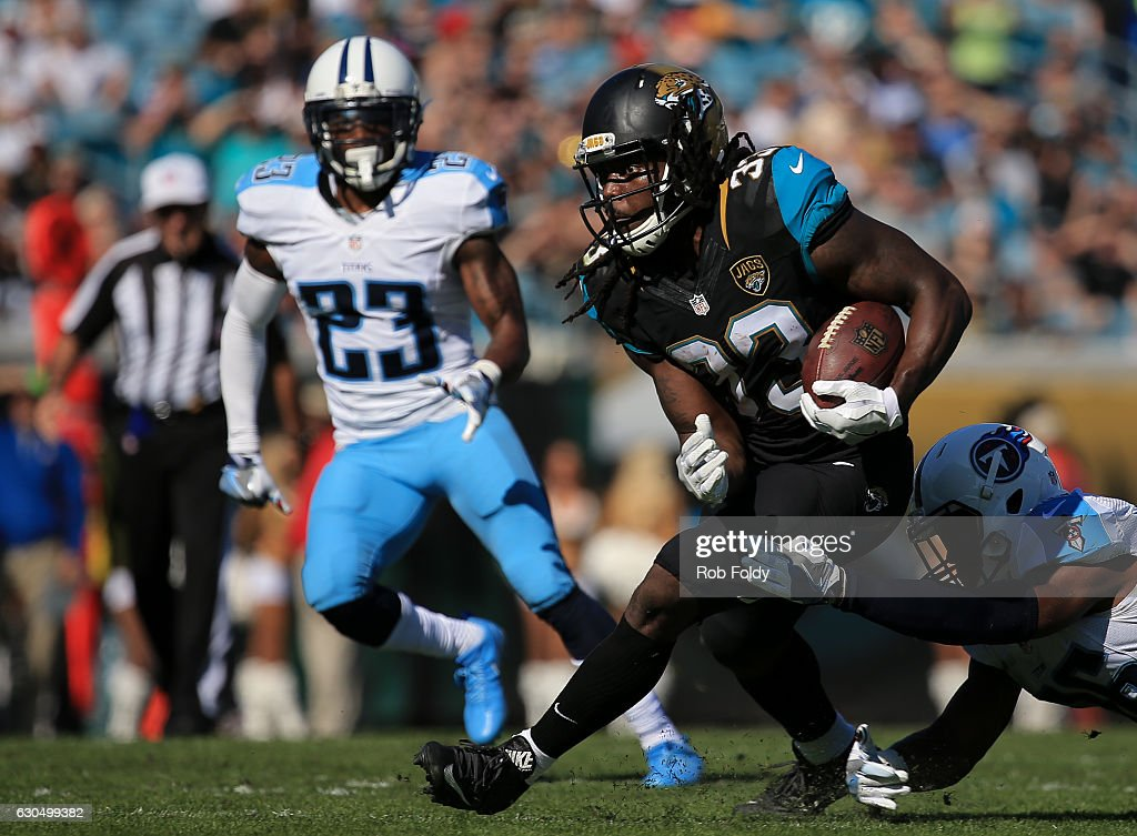 Chris Ivory #33 of the Jacksonville Jaguars in action during the first half of the game against the Tennessee Titans at EverBank Field on December 24, 2016 in Jacksonville, Florida.