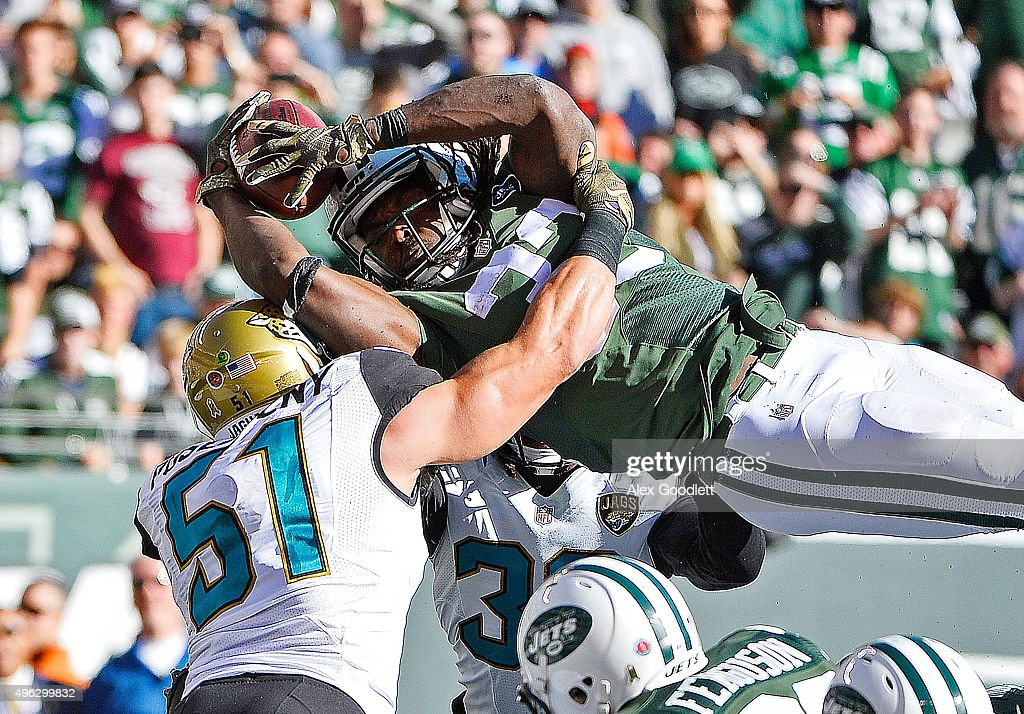 Chris Ivory #33 of the New York Jets is stopped short of the goal line during the first quarter against the Jacksonville Jaguars at MetLife Stadium on November 8, 2015 in East Rutherford, New Jersey.