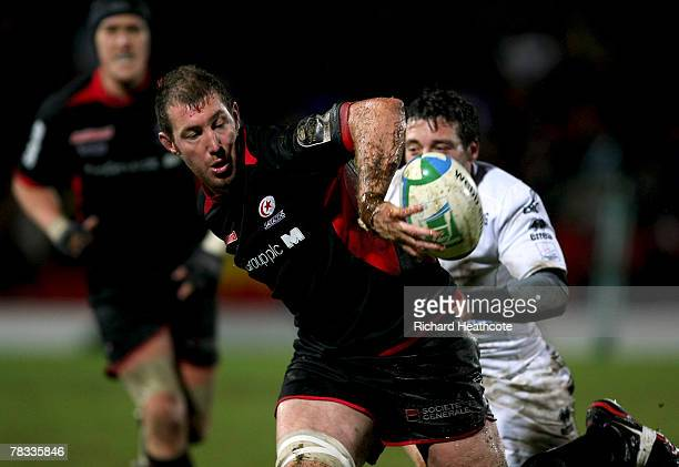Chris Jack of Saracens hands the ball off during the Heineken Cup match between Saracens and Viadana at Vicarage Road on December 8 2007 in Watford...