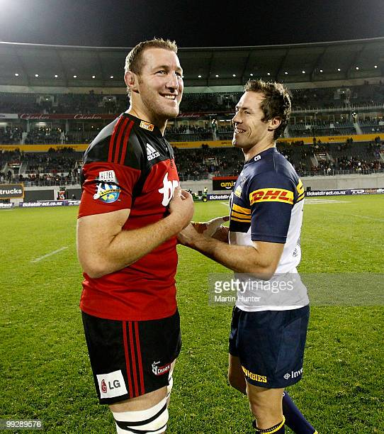 Chris Jack of the Crusaders and Julian Huxley of the Brumbies share a laugh after the round 14 Super 14 match between the Crusaders and the Brumbies...