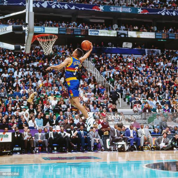 Chris Jackson of the Denver Nuggets attempts a dunk during the 1993 Slam Dunk Contest on February 20 1993 at the Delta Center in Salt Lake City Utah...