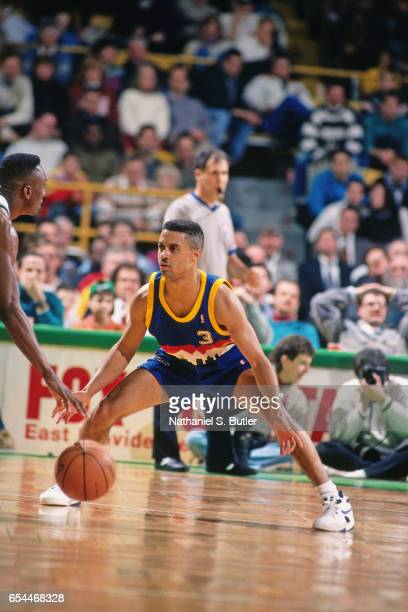 Chris Jackson of the Denver Nuggets defends against the Boston Celtics circa 1993 at the Boston Garden in Boston Massachussetts NOTE TO USER User...