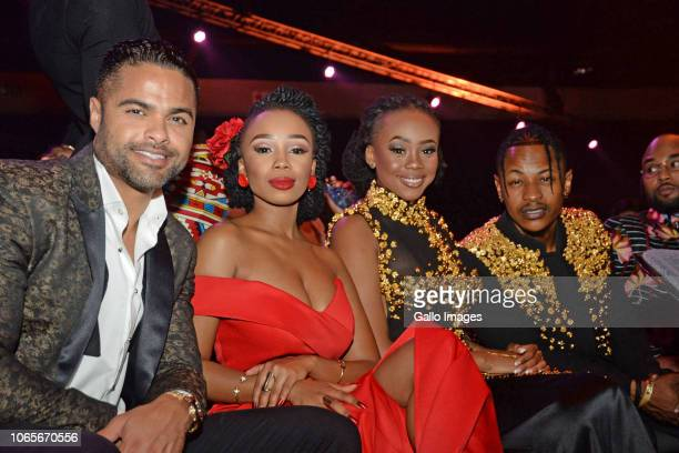 Chris JafthaCandice ModiselleBontle Modiselle and Priddy Ugly during the DStv Mzansi Viewer's Choice Awards event at the Sandton Convention Centre on...