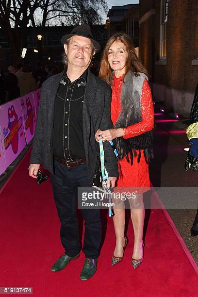 Chris Jagger and Kari Ann Moller arrive for the private view of 'The Rolling Stones Exhibitionism' at Saatchi Gallery on April 4 2016 in London...