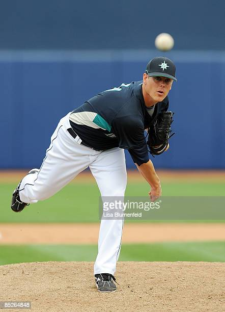 Chris Jakubauskas of the Seattle Mariners pitches during a Spring Training against the Los Angeles Angels of Anaheim game at Peoria Stadium on March...