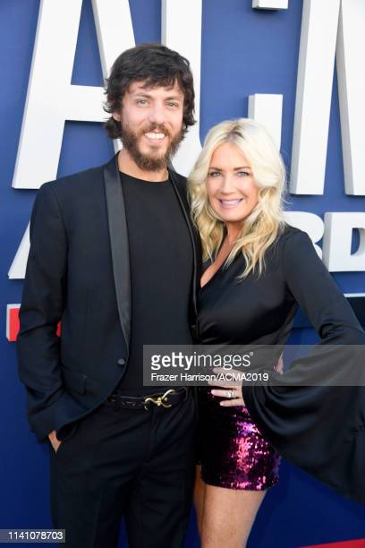 Chris Janson and Kelly Lynn attend the 54th Academy Of Country Music Awards at MGM Grand Hotel Casino on April 07 2019 in Las Vegas Nevada