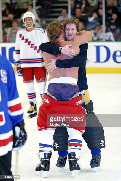 Chris Jericho and Denis Leary during Toyota Presents Super Skate V An AllStar Charity Hockey Game Featuring the New York Rangers and other...