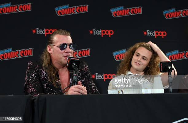 Chris Jericho and Jack Perry aka Jungle Boy attends the All Elite Wrestling panel during 2019 New York Comic Con at Jacob Javits Center on October 04...