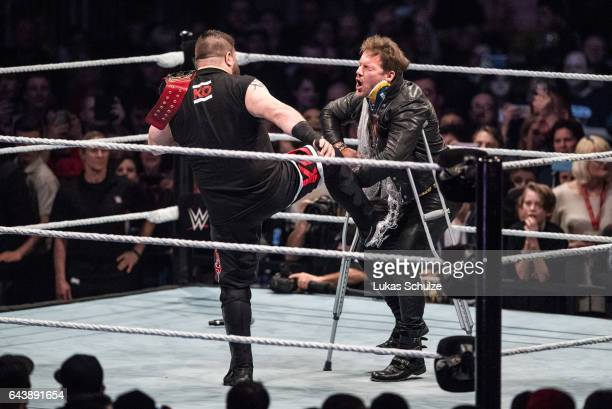 Chris Jericho is attacked by Kevin Owens during to the WWE Live Duesseldorf event at ISS Dome on February 22 2017 in Duesseldorf Germany