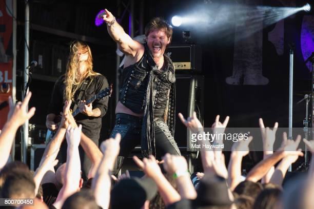 Chris Jericho of Fozzy performs on stage during the Pain In the Grass music festival hosted by 999 KISW at White River Amphitheatre on June 24 2017...