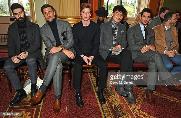 Chris John Millington Johannes Huebl Luke Newberry Hu Bing David Gandy and Andrew Weitz attend the Pringle Of Scotland Menswear Autumn/Winter 2016...