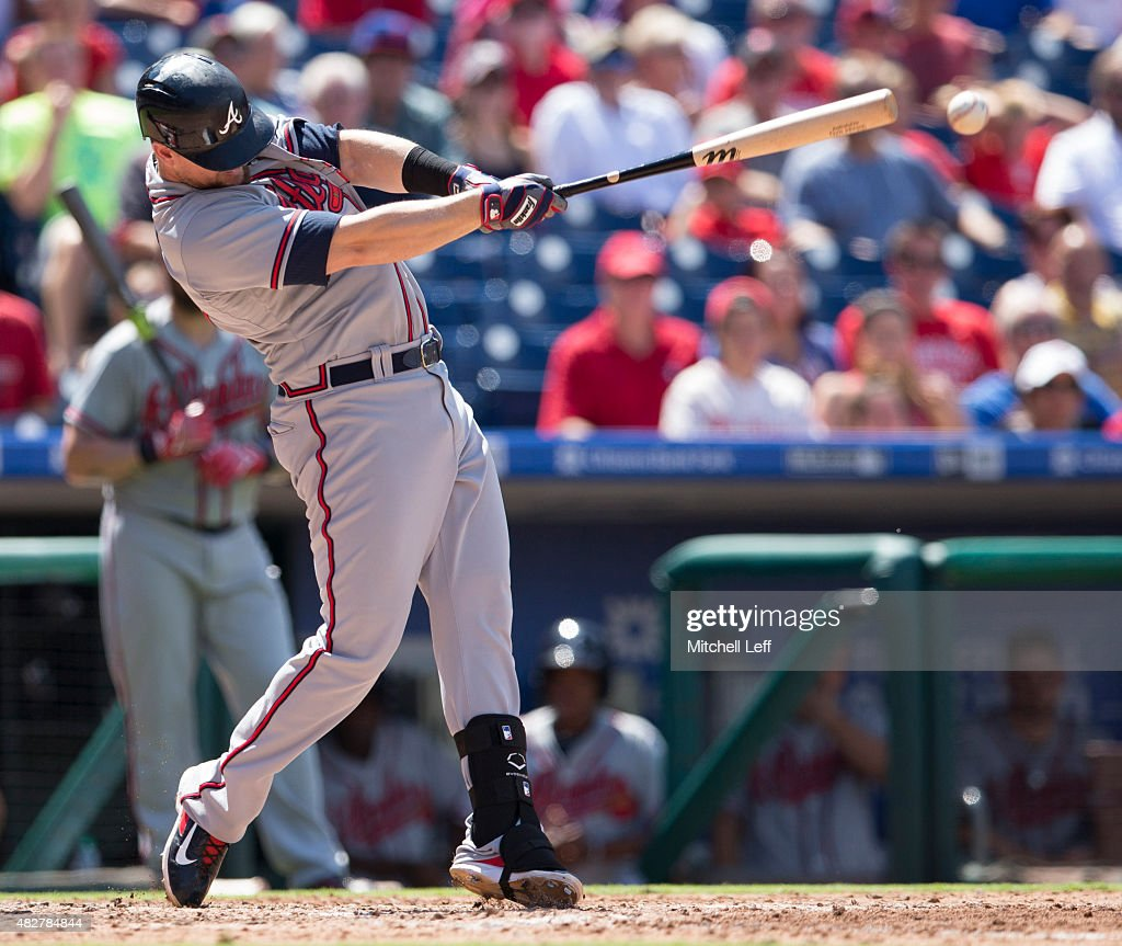 Chris Johnson #23 of the Atlanta Braves hits an RBI single in the top of the fifth inning against the Philadelphia Phillies on August 2, 2015 at the Citizens Bank Park in Philadelphia, Pennsylvania. The Braves defeated the Phillies 6-2.