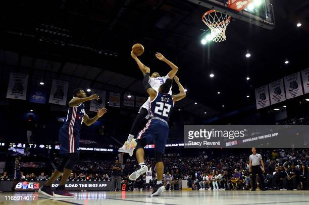 Chris Johnson of the Ghost Ballers attempts a shot while being guarded by Robert Hite of Tri-State in the first half during week seven of the BIG3...