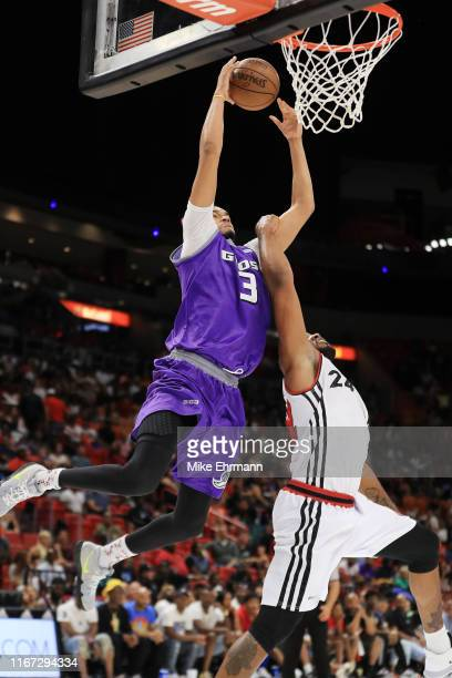Chris Johnson of the Ghost Ballers goes up for a layup against Samardo Samuels of Trilogy during week eight of the BIG3 three on three basketball...