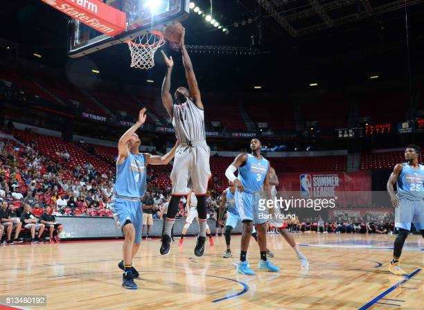 Chris Johnson of the Houston Rockets goes to the basket against the Denver Nuggets during the 2017 Summer League on July 12 2017 at the Thomas Mack...
