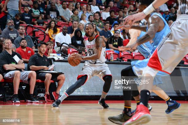 Chris Johnson of the Houston Rockets looks to pass the ball during the 2017 Summer League game against the Denver Nuggets on July 12 2017 at the...