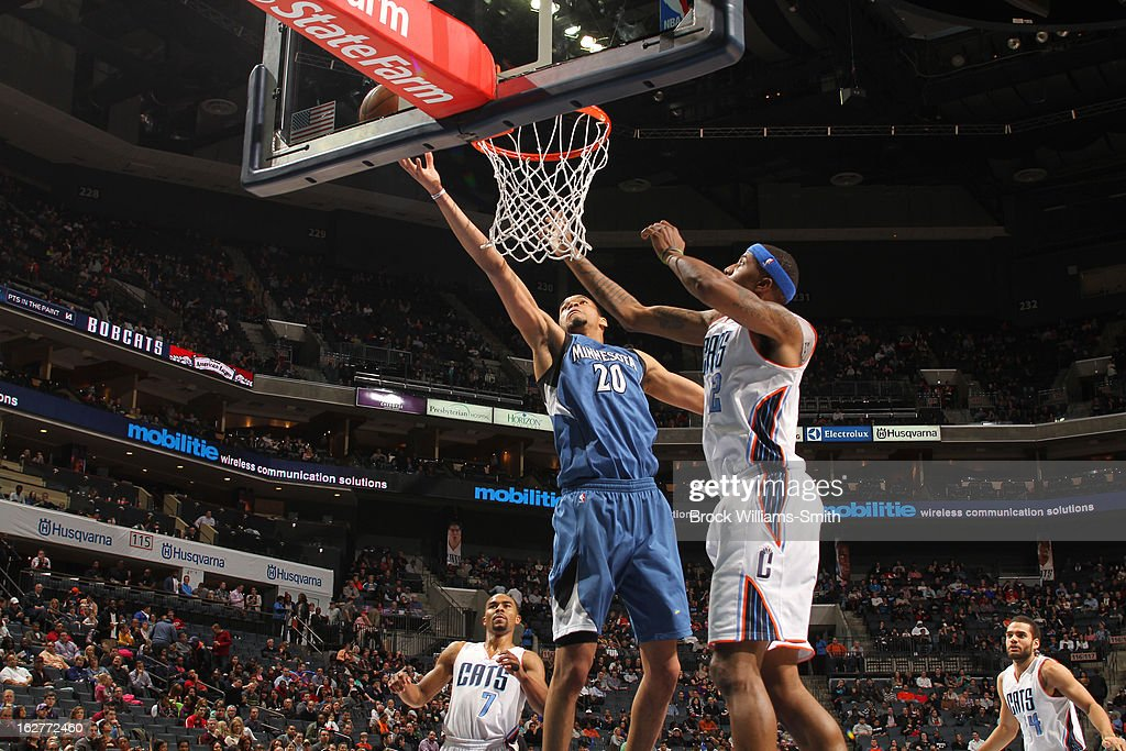 Chris Johnson #20 of the Minnesota Timberwolves drives to the basket against the Charlotte Bobcats at the Time Warner Cable Arena on January 26, 2013 in Charlotte, North Carolina.