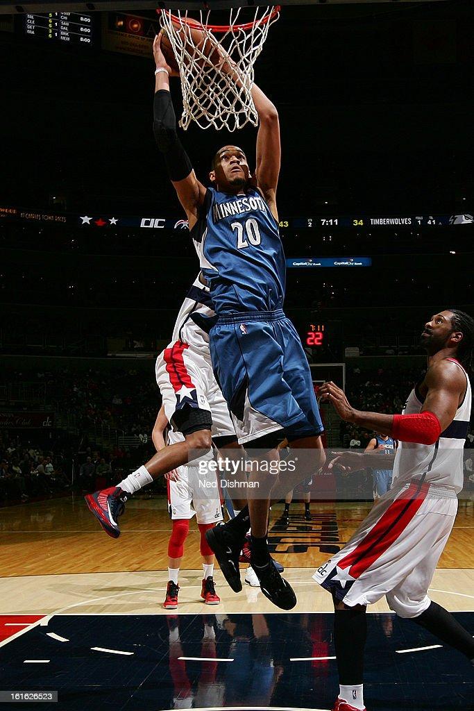 Chris Johnson #20 of the Minnesota Timberwolves dunks the ball against the Washington Wizards at the Verizon Center on January 25, 2013 in Washington, DC.