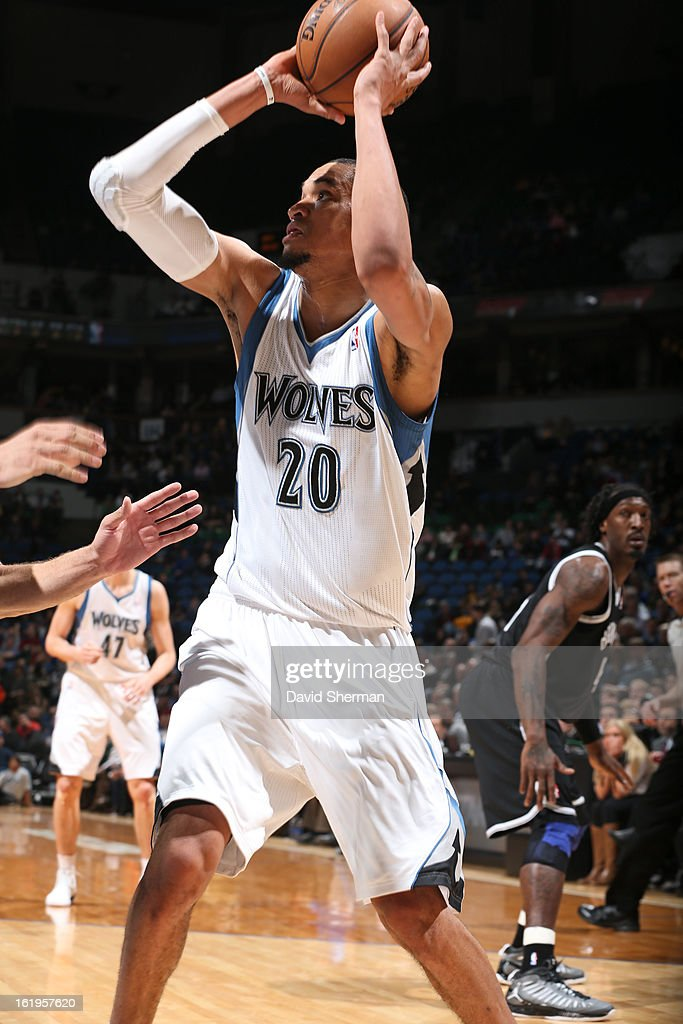 Chris Johnson #20 of the Minnesota Timberwolves looks to pass the ball against the Brooklyn Nets on January 23, 2013 at Target Center in Minneapolis, Minnesota.