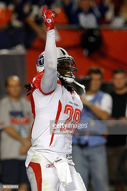 Chris Johnson of the Tennessee Titans celebrates after scoring a touchdown during the 2010 AFCNFC Pro Bowl at Sun Life Stadium on January 31 2010 in...