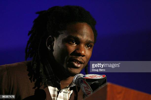 Chris Johnson of the Tennessee Titans speaks to members of the media after being named the FedEx Ground NFL Player of the Year at a press conference...