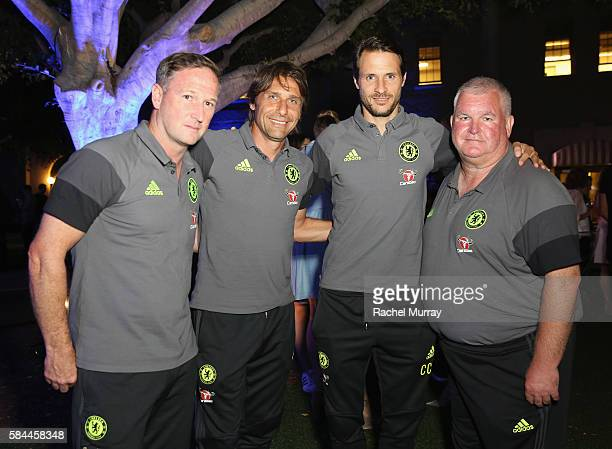 Chris Jones Chelsea FC Manager Antonio Conte Carlo Cudicini and Gary Staker attend Hublot x Chelsea FC event in Los Angeles at Sony Pictures Studios...