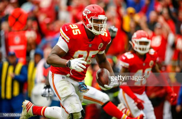 Chris Jones defensive tackle with the Kansas City Chiefs ran into the end zone on a 20yard interception return against the Jacksonville Jaguars at...