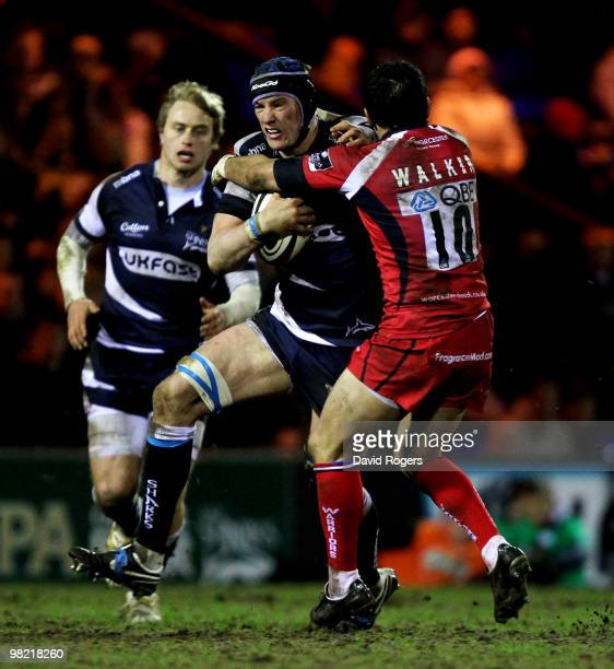 Chris Jones of Sale takes on Willie Walker of Worcester during the Guinness Premiership match between Sale Sharks and Worcester Warriors at Edgeley...