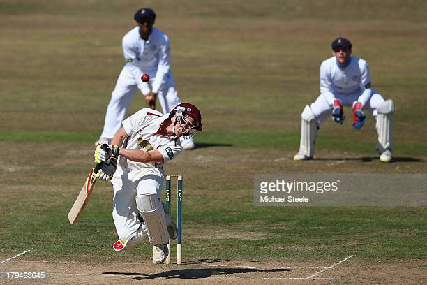 Chris Jones of Somerset leaps out of the way from a delivery from Mark Footitt of Derbyshire during day two of the LV County Championship Division...
