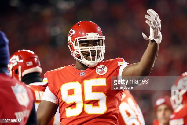 Chris Jones of the Kansas City Chiefs gestures in the first half against the New England Patriots during the AFC Championship Game at Arrowhead...