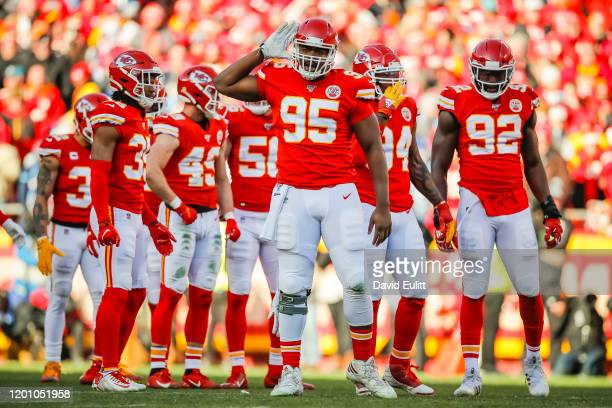 Chris Jones of the Kansas City Chiefs implores the crowd to make more noise at Arrowhead Stadium in the AFC Championship game against the Tennessee...